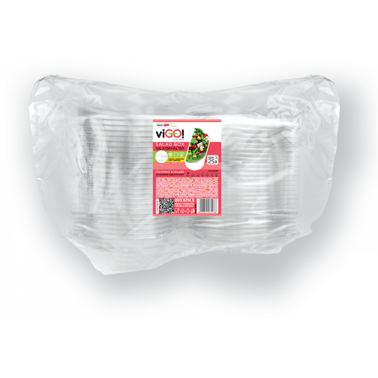 A salad container size S-25 pieces